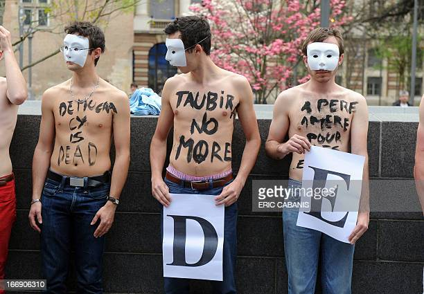 Bare chested men members of the antigay marriage group Hommen demonstrate in Toulouse on April 18 2013 French Prime Minister JeanMarc Ayrault called...