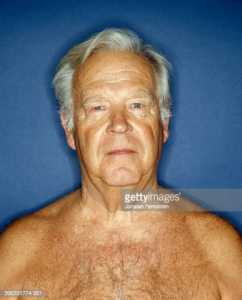 bare chested senior man, portrait, close-up - chest barechested bare chested stock-fotos und bilder