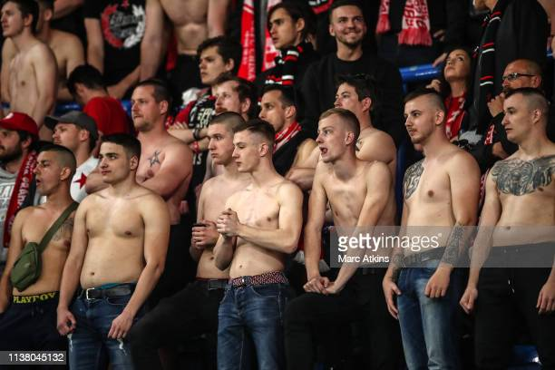 Bare chested Slavia Prague fans during the UEFA Europa League Quarter Final Second Leg match between Chelsea and Slavia Praha at Stamford Bridge on...