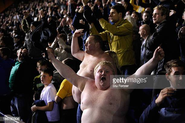 Bare chested Stoke fans celebrate after Stoke win 42 on penaltys during the Capital Cup Fourth Round game between Birmingham City and Stoke City at...