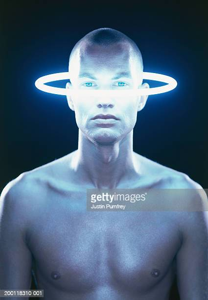 """bare chested young man, halo of light on face, portrait"" - chest barechested bare chested foto e immagini stock"