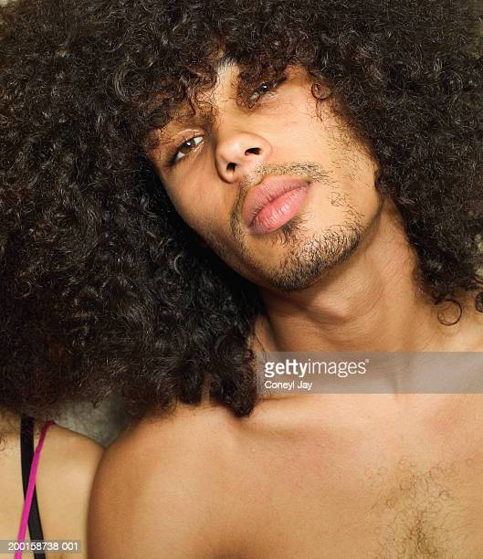bare chested young man, portrait, close-up - chest barechested bare chested foto e immagini stock