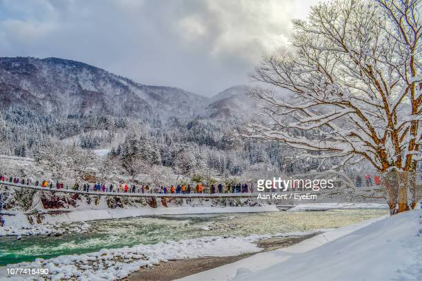 bare trees by snow covered mountains against sky - 岐阜県 ストックフォトと画像