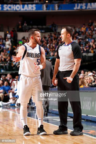 J Barea of the Dallas Mavericks and Mark Lindsay talk during the game against the Los Angeles Lakers February 10 2018 at the American Airlines Center...