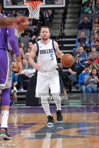 J Barea of the Dallas Mavericks brings the ball up the court against the Sacramento Kings on February 3 2018 at Golden 1 Center in Sacramento...