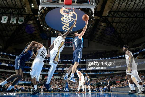 J Barea of the Dallas Mavericks drives to the basket against the New Orleans Pelicans on December 26 2018 at the American Airlines Center in Dallas...