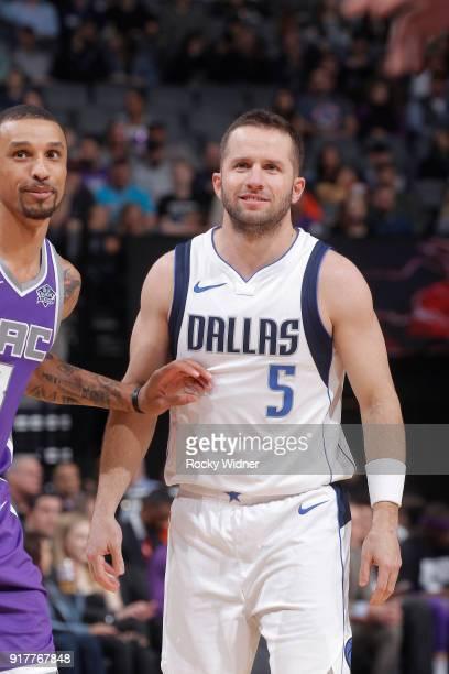 J Barea of the Dallas Mavericks faces off against George Hill of the Sacramento Kings on February 3 2018 at Golden 1 Center in Sacramento California...