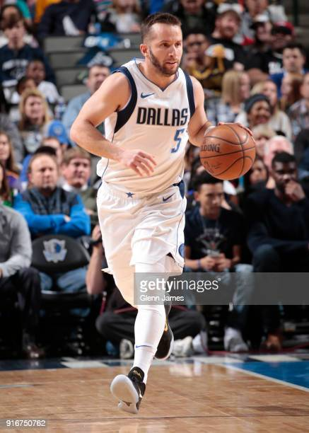 J Barea of the Dallas Mavericks handles the ball against the Los Angeles Lakers on February 10 2018 at the American Airlines Center in Dallas Texas...