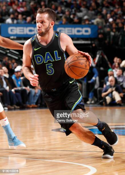 J Barea of the Dallas Mavericks handles the ball against the Sacramento Kings on February 13 2018 at the American Airlines Center in Dallas Texas...