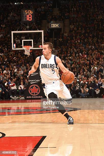 J Barea of the Dallas Mavericks handles the ball against the Toronto Raptors during the game on November 28 2014 at the Air Canada Centre in Toronto...