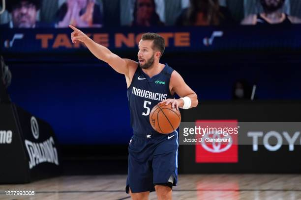 Barea of the Dallas Mavericks handles the ball against the Utah Jazz on August 10, 2020 at the AdventHealth Arena at in Orlando, Florida. NOTE TO...