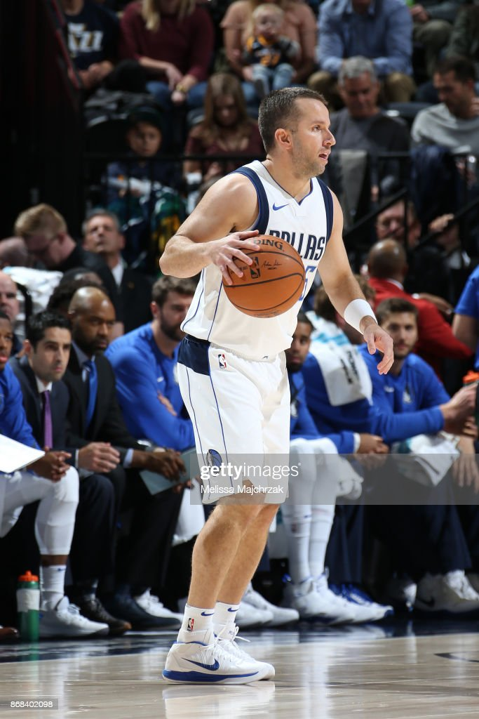 J.J. Barea #5 of the Dallas Mavericks handles the ball against the Utah Jazz on October 30, 2017 at Vivint Smart Home Arena in Salt Lake City, Utah.