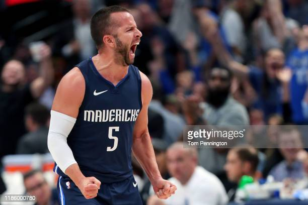 J Barea of the Dallas Mavericks reacts after scoring against the Orlando Magic in the second period at American Airlines Center on November 06 2019...