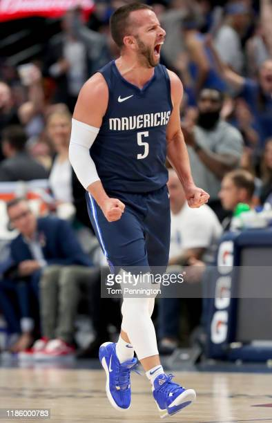 Barea of the Dallas Mavericks reacts after scoring against the Orlando Magic in the second period at American Airlines Center on November 06, 2019 in...