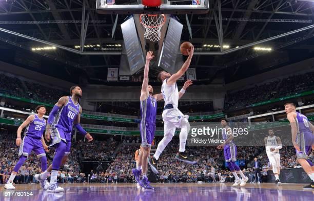 J Barea of the Dallas Mavericks shoots a layup against Kosta Koufos of the Sacramento Kings on February 3 2018 at Golden 1 Center in Sacramento...