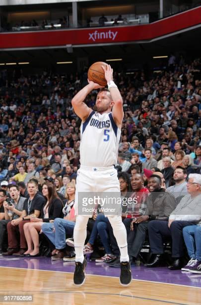 J Barea of the Dallas Mavericks shoots a three pointer against the Sacramento Kings on February 3 2018 at Golden 1 Center in Sacramento California...
