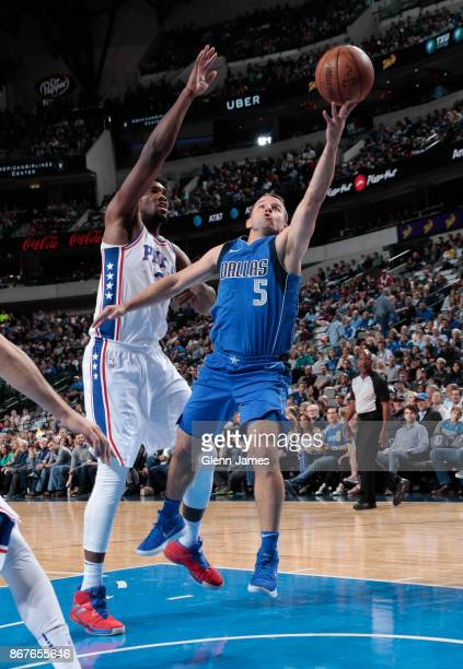 Barea of the Dallas Mavericks shoots the ball against the Philadelphia 76ers on October 28, 2017 at the American Airlines Center in Dallas, Texas....