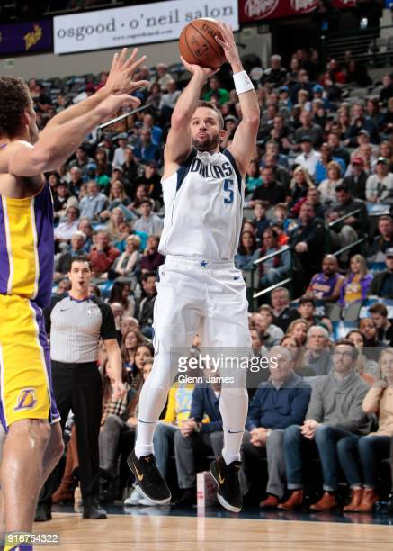J Barea of the Dallas Mavericks shoots the ball against the Los Angeles Lakers on February 10 2018 at the American Airlines Center in Dallas Texas...
