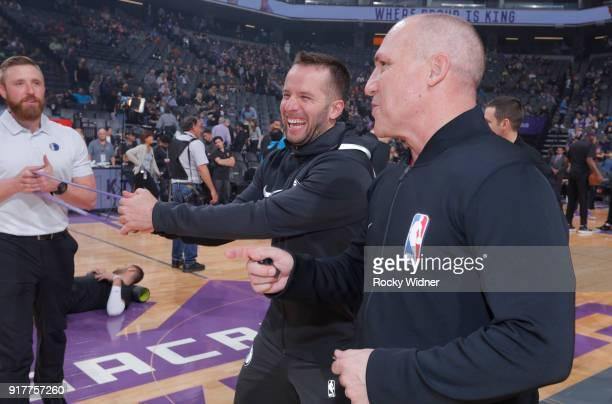 J Barea of the Dallas Mavericks talks with a referee prior to the game against the Sacramento Kings on February 3 2018 at Golden 1 Center in...