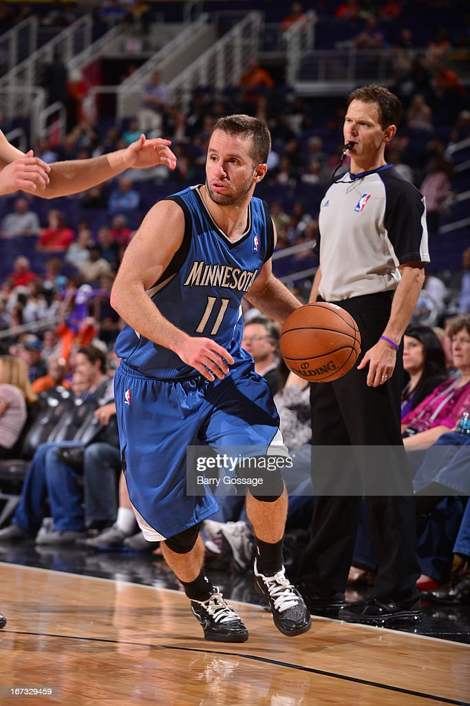 J.J. Barea #11 of the Minnesota Timberwolves brings the ball up court against the Phoenix Suns on March 22, 2013 at U.S. Airways Center in Phoenix, Arizona.