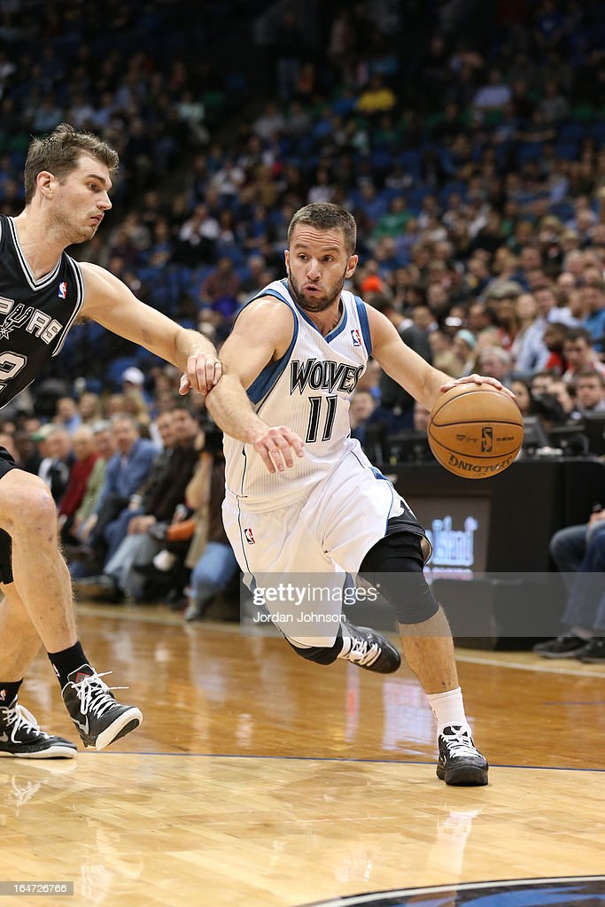 J.J. Barea #11 of the Minnesota Timberwolves drives to the basket against the San Antonio Spurs on March 12, 2013 at Target Center in Minneapolis, Minnesota.