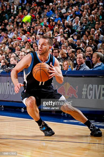 J Barea of the Minnesota Timberwolves handles the ball against the Dallas Mavericks on January 14 2013 at the American Airlines Center in Dallas...