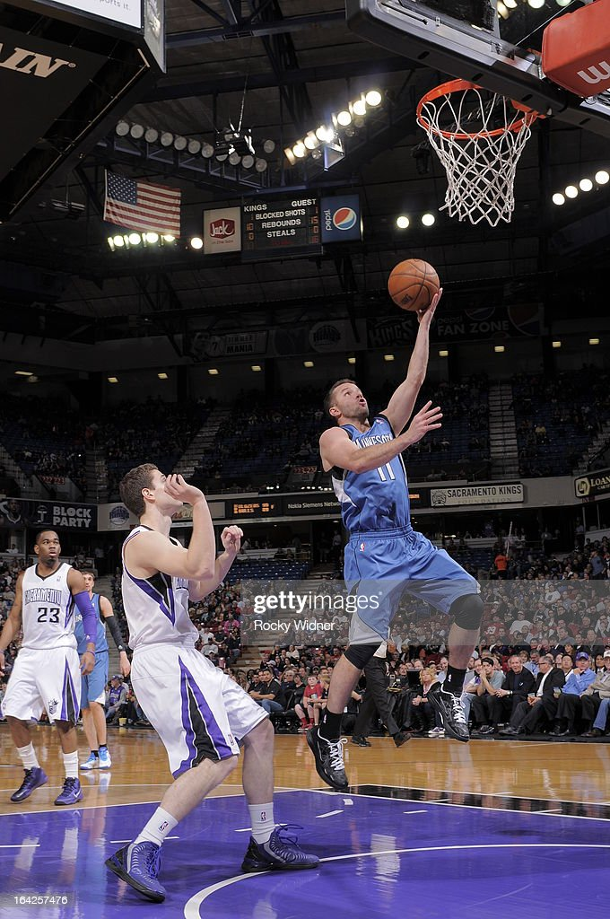 J.J. Barea #11 of the Minnesota Timberwolves shoots a layup against the Sacramento Kings on March 21, 2013 at Sleep Train Arena in Sacramento, California.