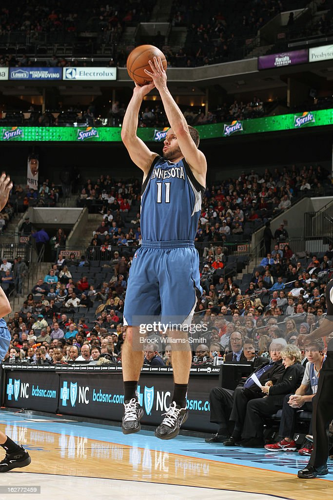 J.J. Barea #11 of the Minnesota Timberwolves takes a shot against the Charlotte Bobcats at the Time Warner Cable Arena on January 26, 2013 in Charlotte, North Carolina.