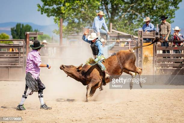 Bareback Bull Riding Cowboy Rodeo Action Clown Raging Bucking Bull