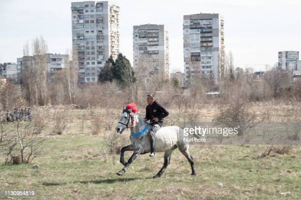 A bareback horserace is part of Horse Easter celebrations in the Fakulteta neighborhood of Sofia March 16 2019 which is celebrated on St Todor's Day...