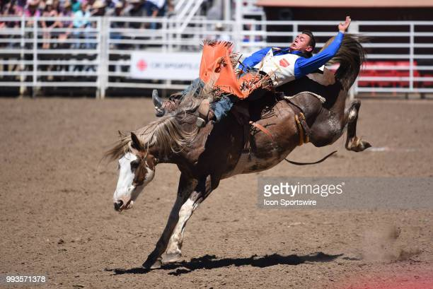 A bareback rider competes at the Calgary Stampede on July 7 2018 at Stampede Park in Calgary AB