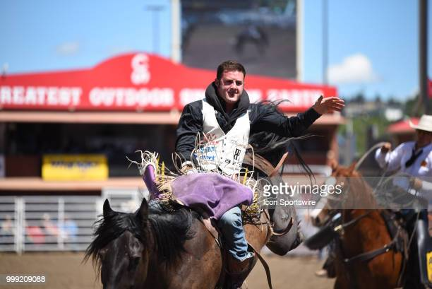 Bareback rider Kaycee Feild of Genola UT competes at the Calgary Stampede on July 14 2018 at Stampede Park in Calgary AB