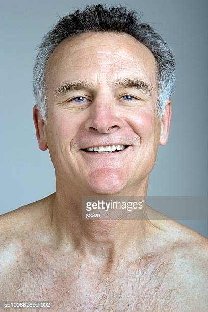 barechested man smiling, close-up, portrait - chest torso stock pictures, royalty-free photos & images