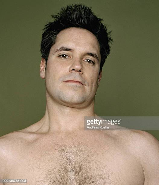 bare-chested man smiling, portrait - hairy chest stock photos and pictures