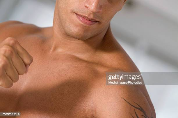 bare-chested man with tattoo, close-up - barechested bare chested ストックフォトと画像