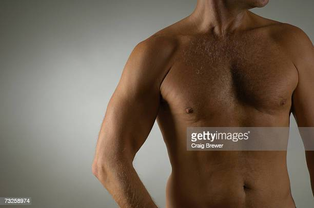 bare-chested muscular mature man, mid section - barechested bare chested ストックフォトと画像
