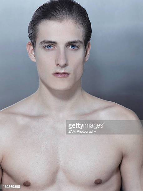 bare-chested young man, beauty portrait - chest barechested bare chested fotografías e imágenes de stock