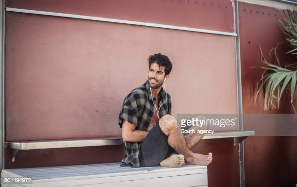 barefoot man - mens bare feet stock photos and pictures