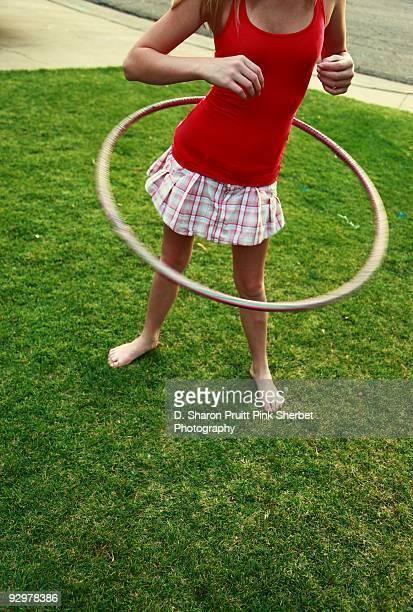 Barefoot Summer Fun Hula Hoop Girl