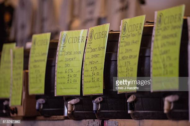 Barels of cider lined up at the London Drinker Beer and Cider Festival at the Camden Centre on March 2 2016 in London England The event is run by...