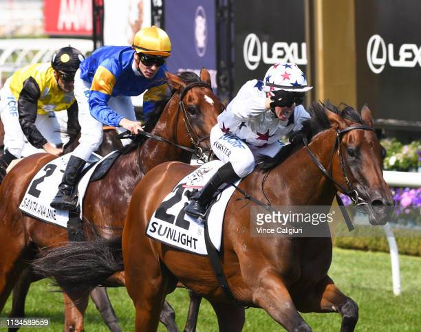 Barend Vorster riding Sunlight winning Race 6 Seppelt Wines Newmarket Handicap during Melbourne Racing at Flemington Racecourse on March 09 2019 in...