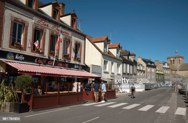 Barfleur a small French port in the Normandy region A Cafe restaurant and bar on the quayside of this coastal commune of Barfleur in Normandy...