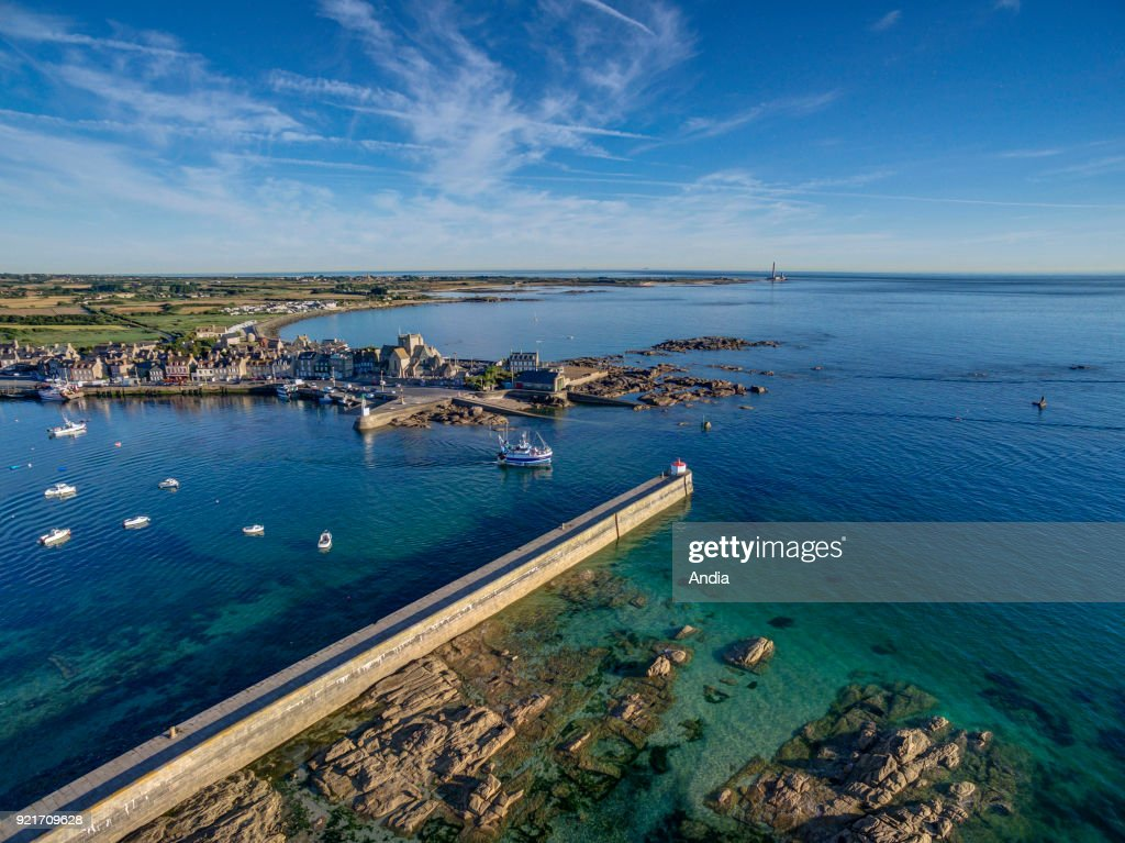 Barfleur, aerial view of the harbour. : News Photo