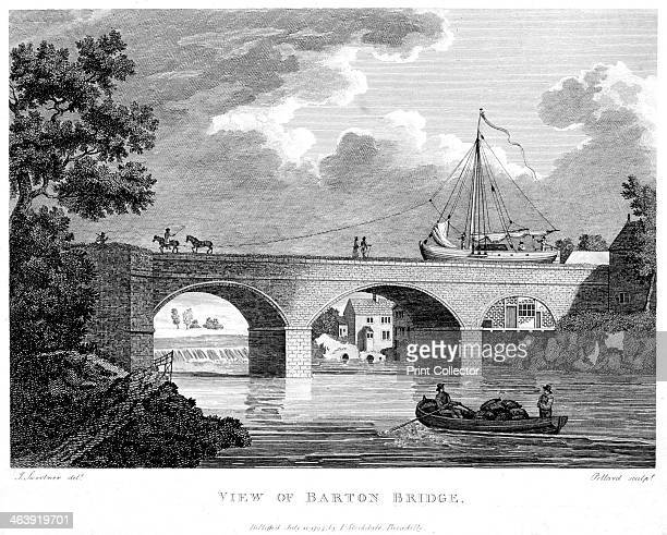 Barge crossing the Barton aqueduct over the Irwell Salford Greater Manchester c1794 Financed largely by Francis Egerton Duke of Bridgewater the 10...