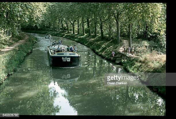 Barge Cruising Through Midi Canal