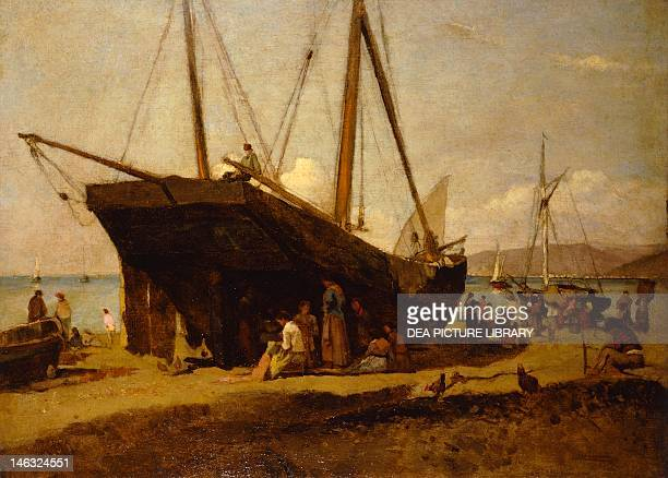 Barge in dry dock ca 1880 Alfonso Hollaender oil on canvas 42x57 cm