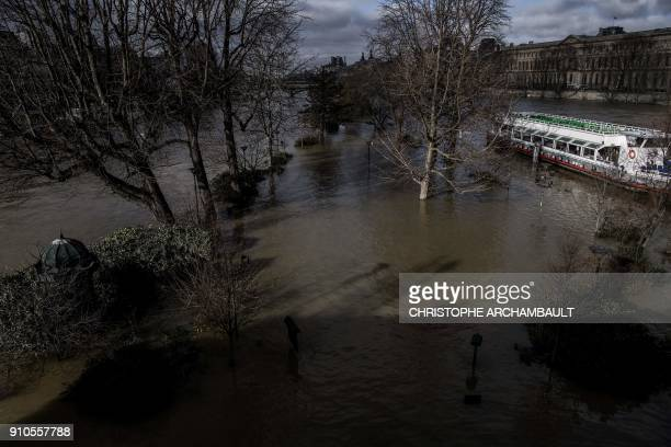 A barge is moored along the flooded tip of the ile de la cite on the swollen Seine river in Paris on January 26 2018 / AFP PHOTO / CHRISTOPHE...