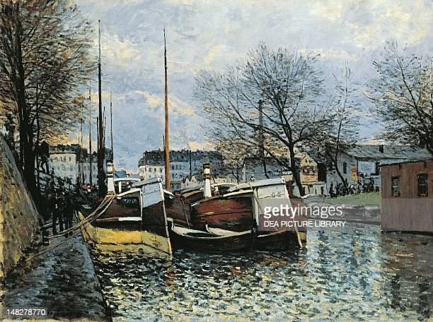 Barges on the Canal Saint Martin by Alfred Sisley Winterthur Museum Oskar Reinhart Am Stadtgarten