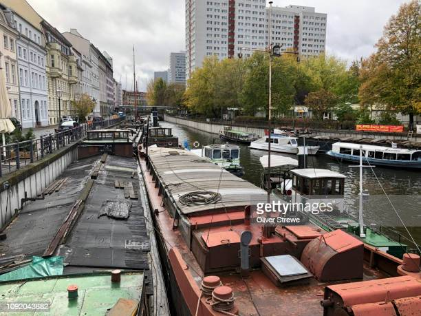 barges spree canal from inselstrasse berlin