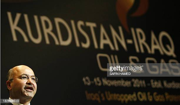 Barham Salih prime minister of the Iraqi Kurdistan Region Government speaks during conference of KurdistanIraq Oil and Gas forum in the northern city...